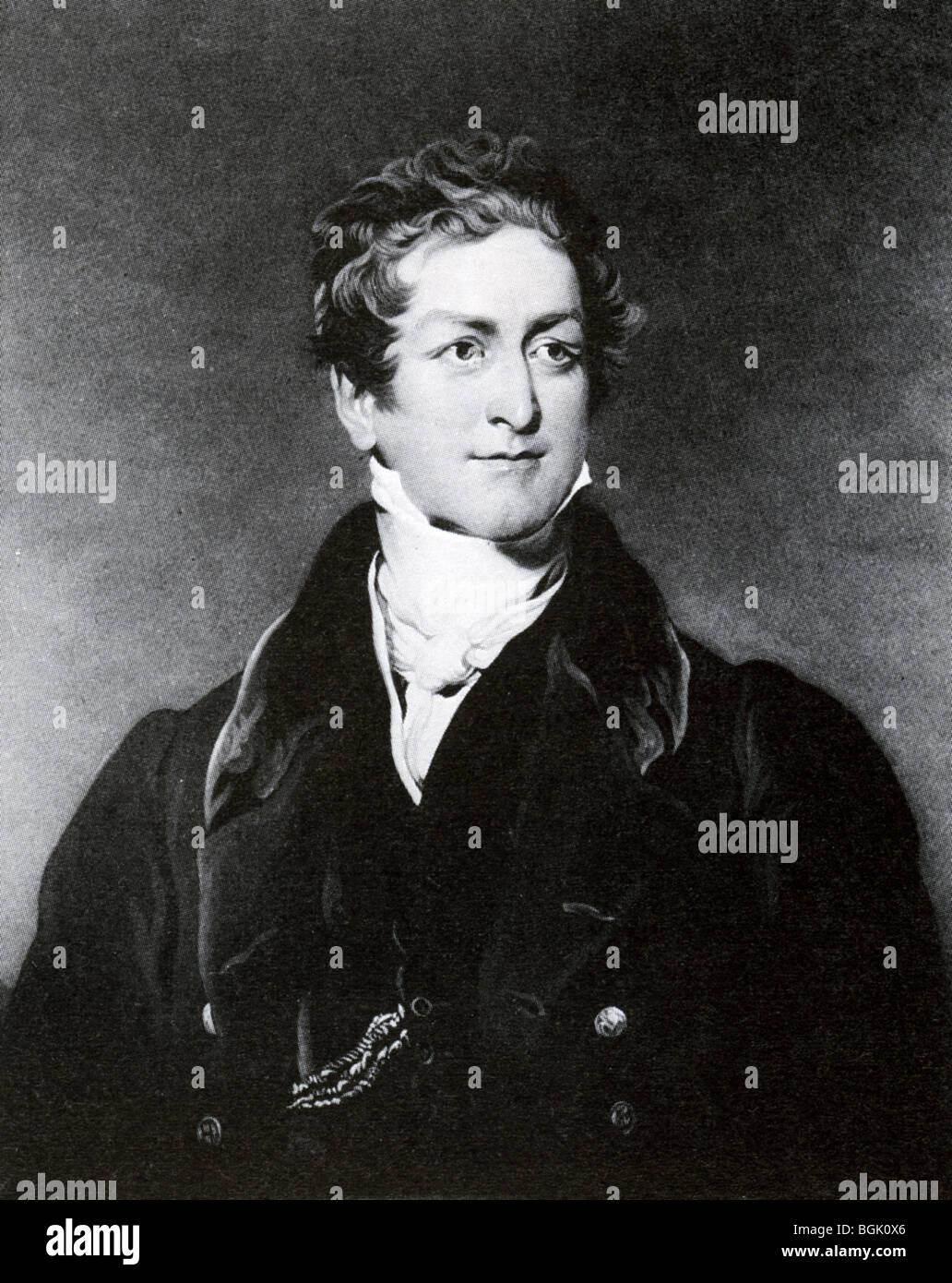 SIR ROBERT PEEL - English statesman and Prime Minister (1788-1850) engaving after painting by Sir Thomas Lawrence - Stock Image