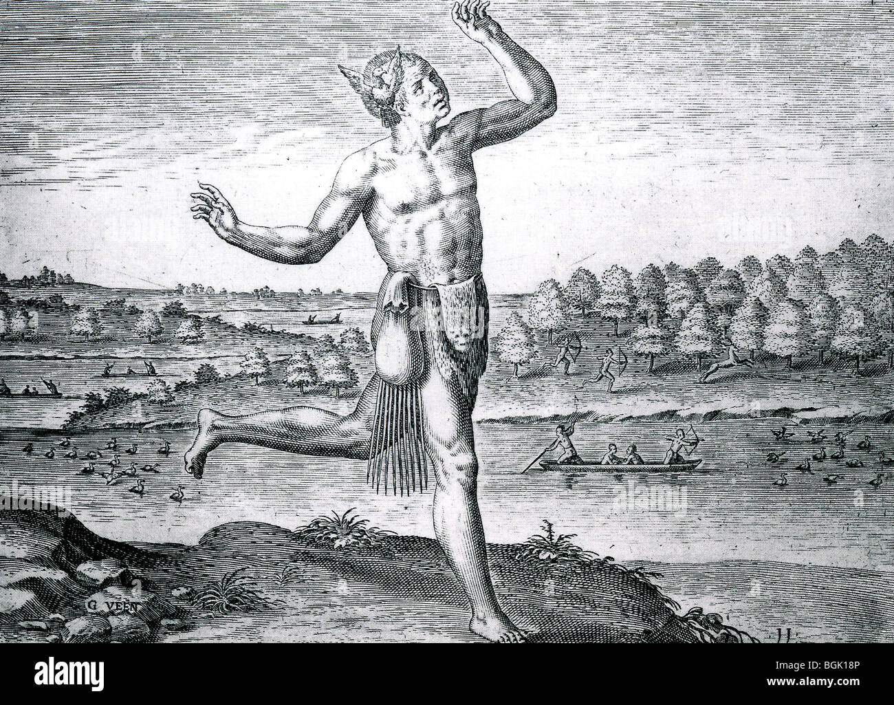 THE NOBLE SAVAGE - Engraving based on drawing by John White during an expedition to Roanoke Island, of Virginia, - Stock Image