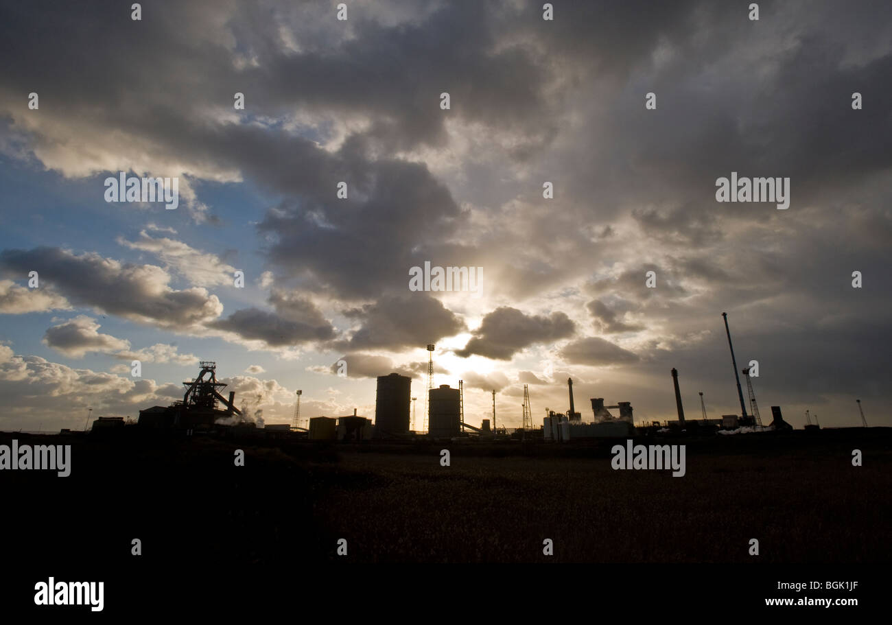 The blast furnace and industry of the Redcar site, Corus Steel on Teeside, Cleveland, United Kingdom.  Photo by - Stock Image