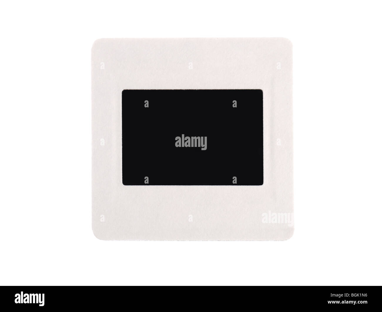 Blank 35 mm  black transparency with white border isolated on white - Stock Image