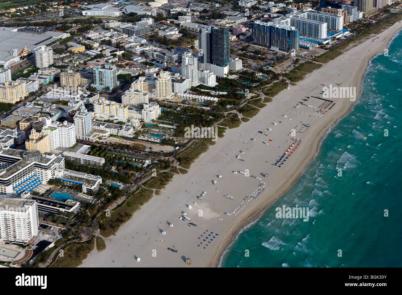 aerial view above South Beach Miami Florida Stock Photo