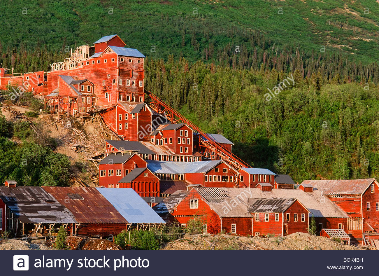 Wrangell St Elias . McCarthy . Kennicott Mine in Sunset Light. - Stock Image