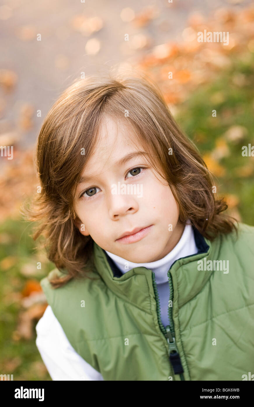 portrait of serious boy - Stock Image