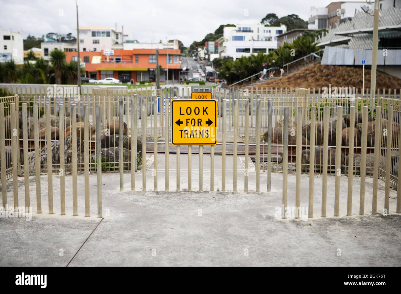 Look for trains warning sign, pedestrian crossing, New Plymouth, New Zealand - Stock Image