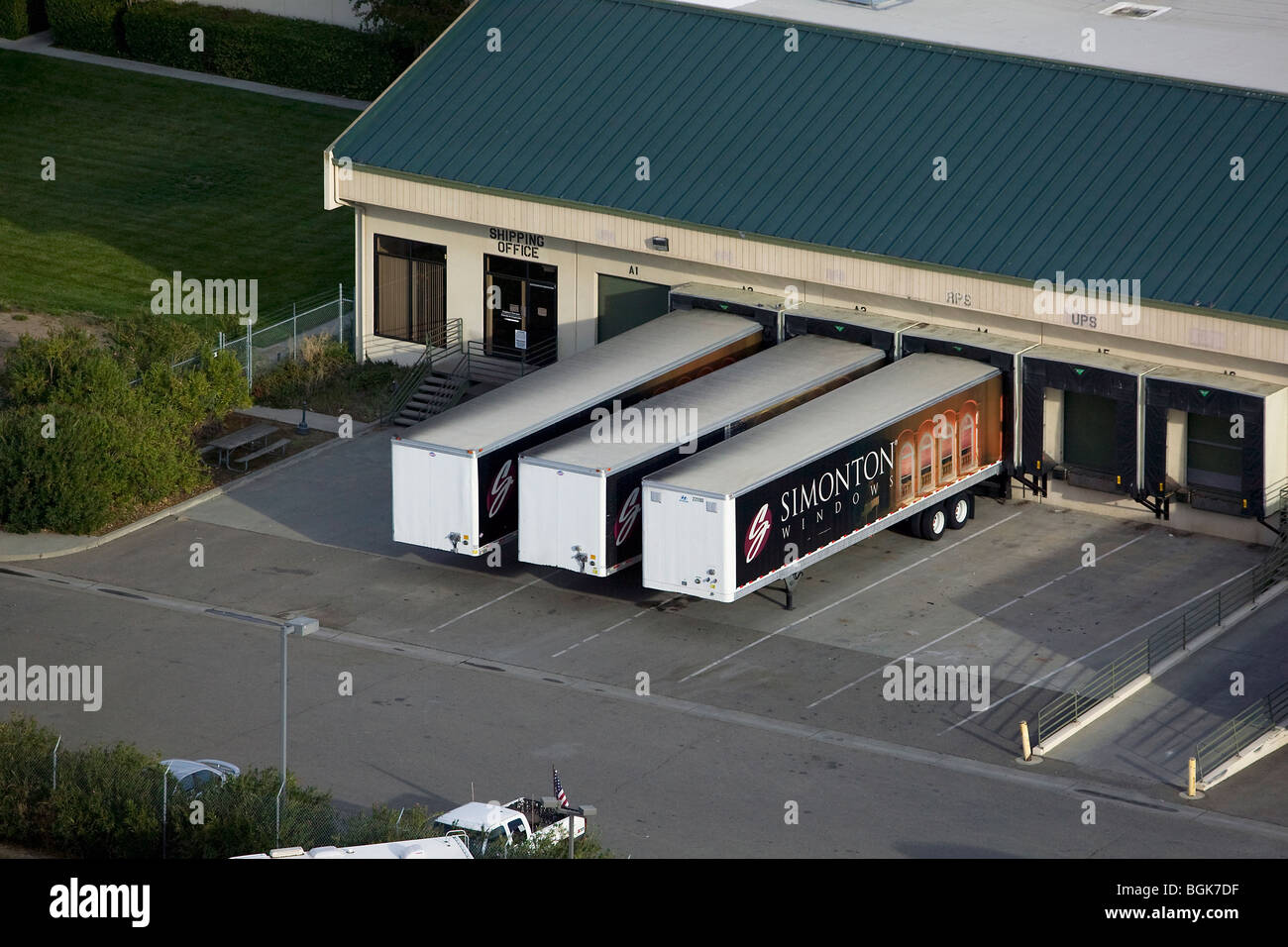 aerial view above Simonton Windows truck trailers warehouse Vacaville California - Stock Image