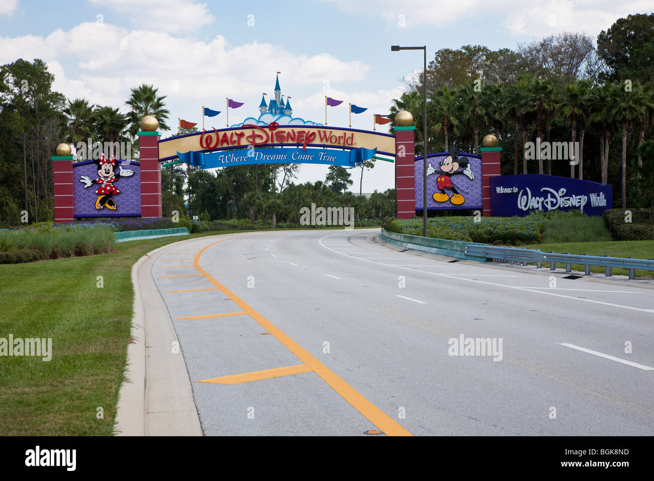 Western entrance to Walt Disney World property in Central Florida shows Cinderella's castle Stock Photo