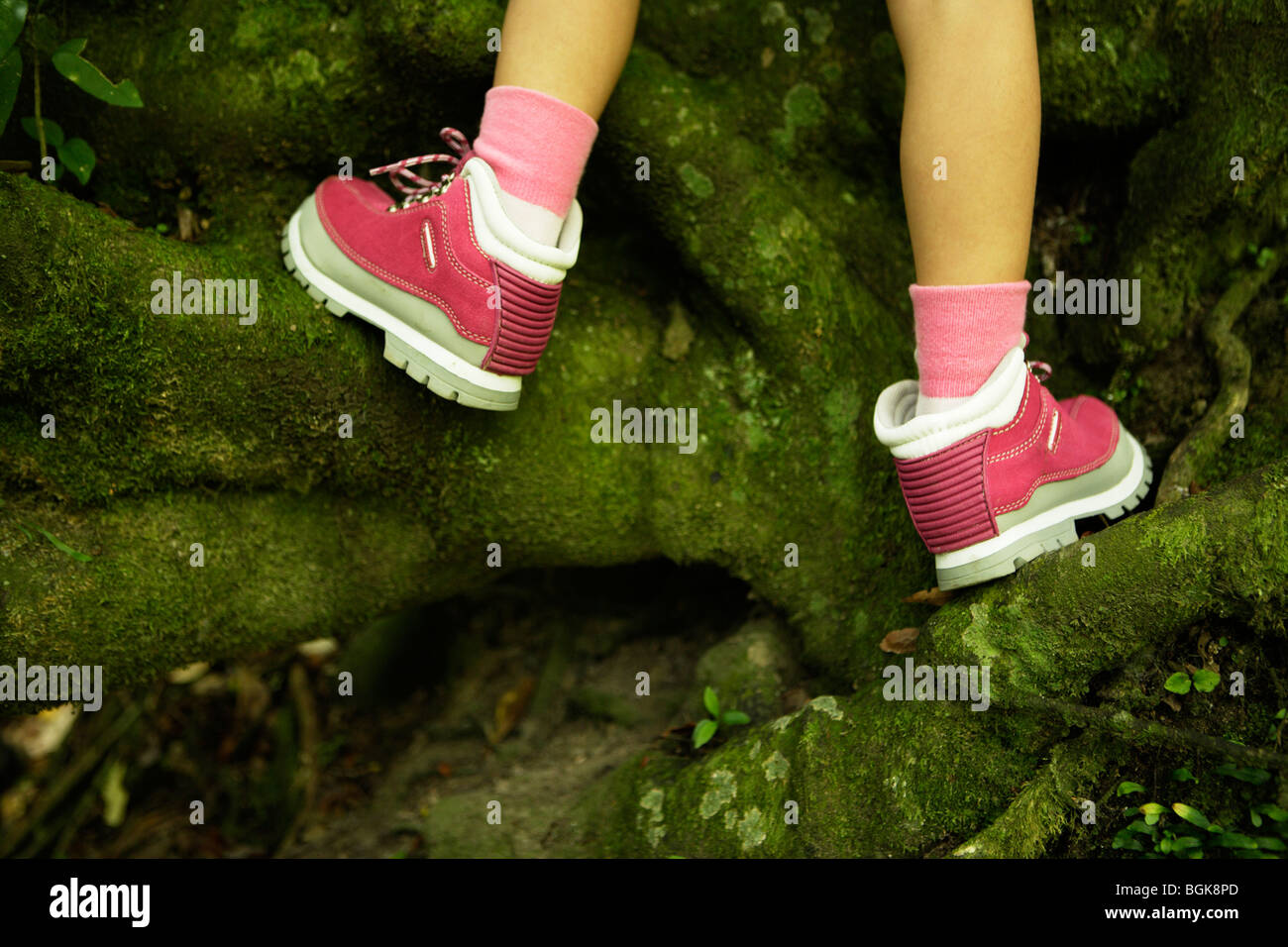 Girl climbs mossy roots in pink boots - Stock Image