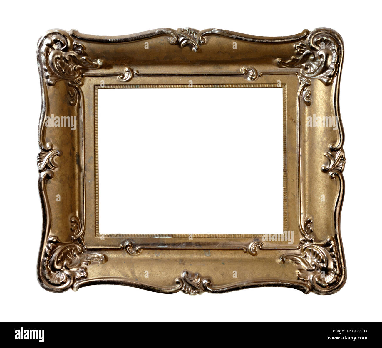 Old vintage metal photo frame isolated with clipping path on white ...