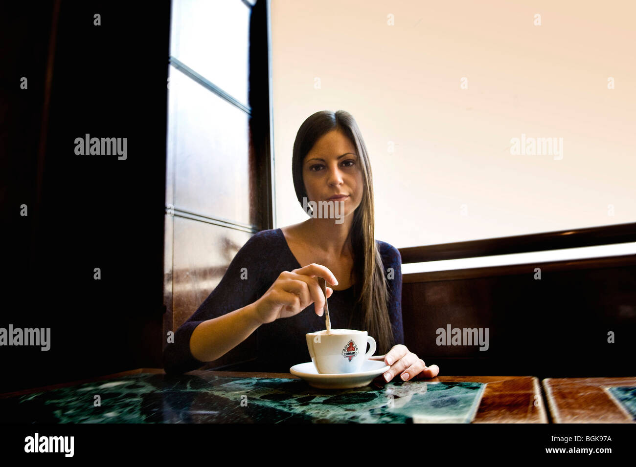 Breakfast, bar Magenta, Milan, Italy - Stock Image