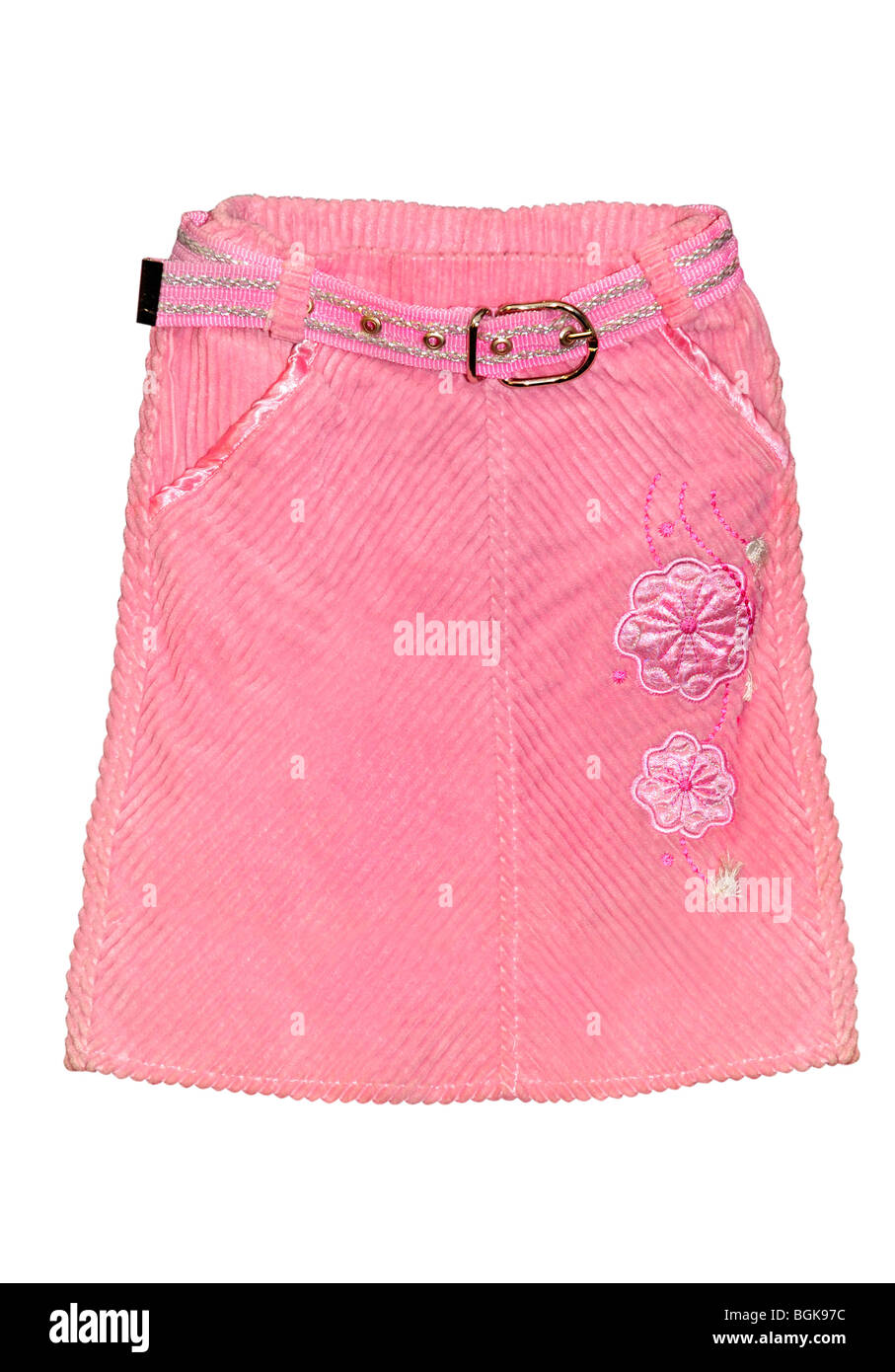Children's clothing pink skirt isolated on white background - Stock Image