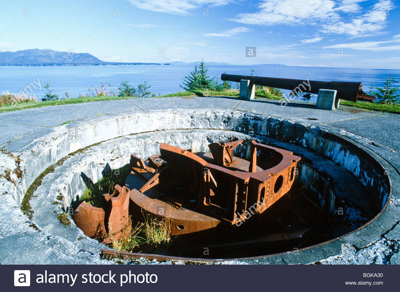 Kodiak Island, Fort Abercrombie. World War Two bunker / artillery at Miller Point. - Stock Image