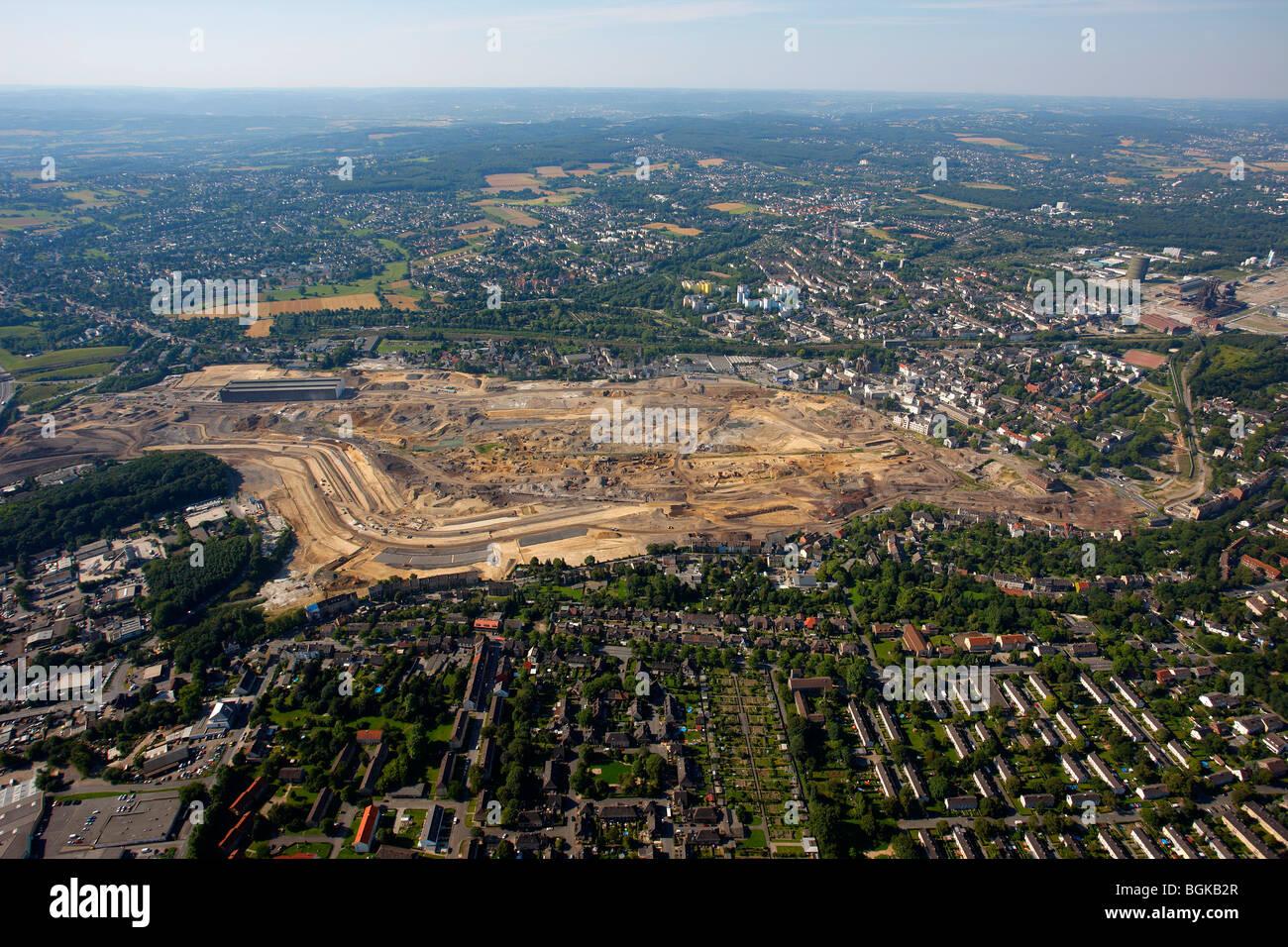 Aerial view, landscape planning, Emscher, Phoenix-See, former steel mill site, Hoerde, Dortmund, Ruhrgebiet region, Stock Photo