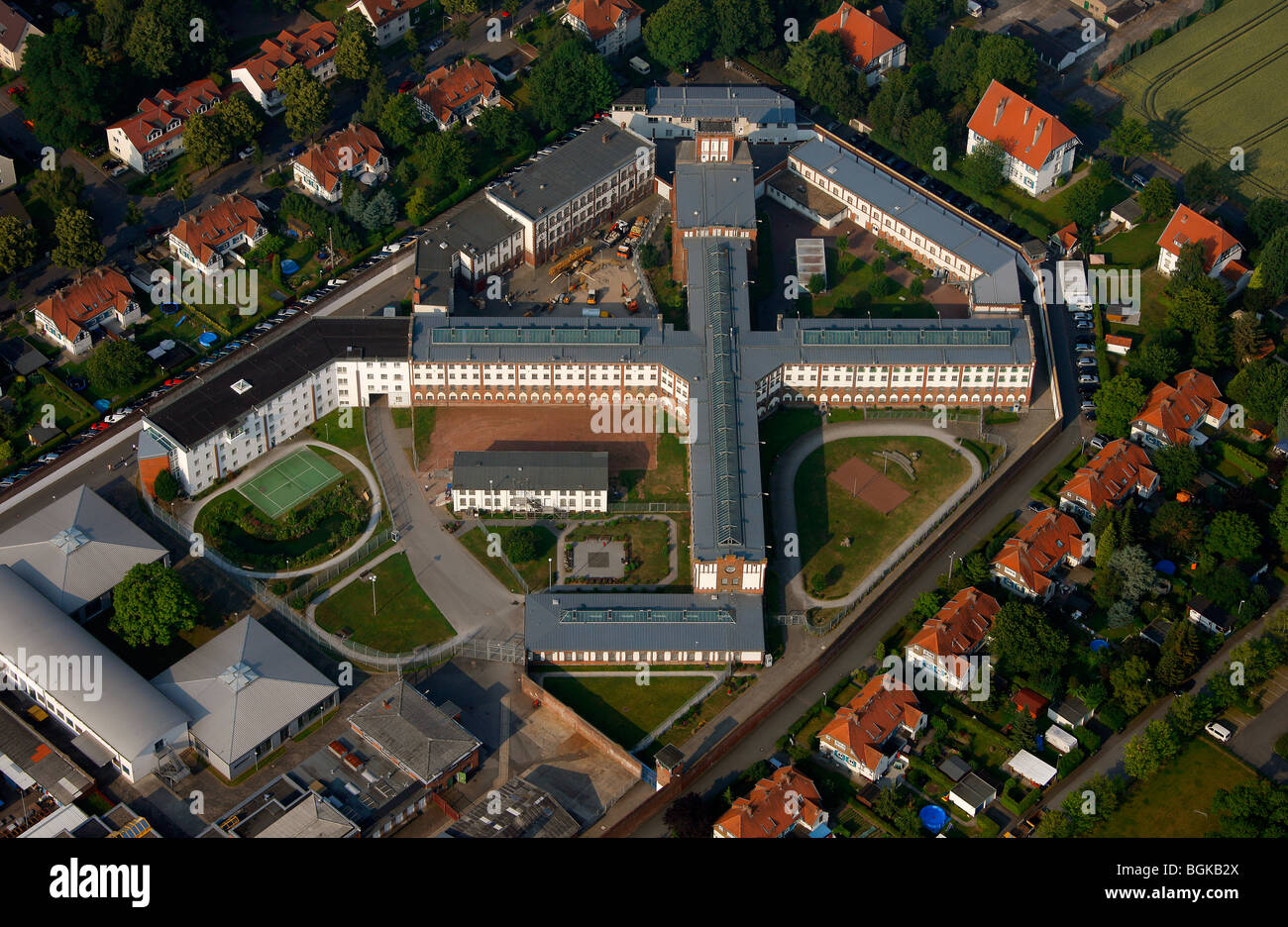 Aerial photo, prison, detention, JVA Werl prison with new roof, Werl, North Rhine-Westphalia, Germany, Europe - Stock Image