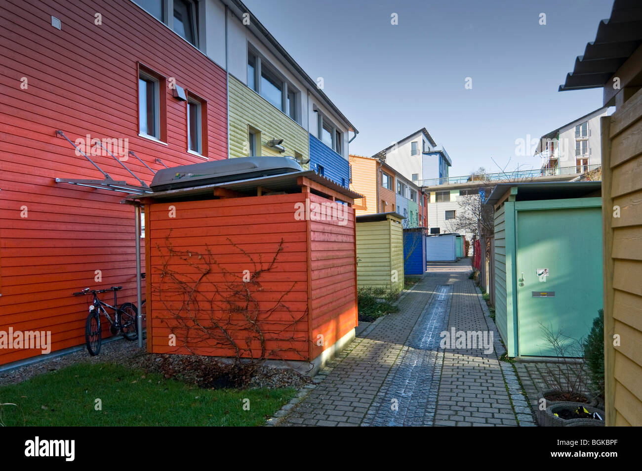 Ecological Vauban district in Freiburg, Baden-Wuerttemberg, Germany, Europe - Stock Image
