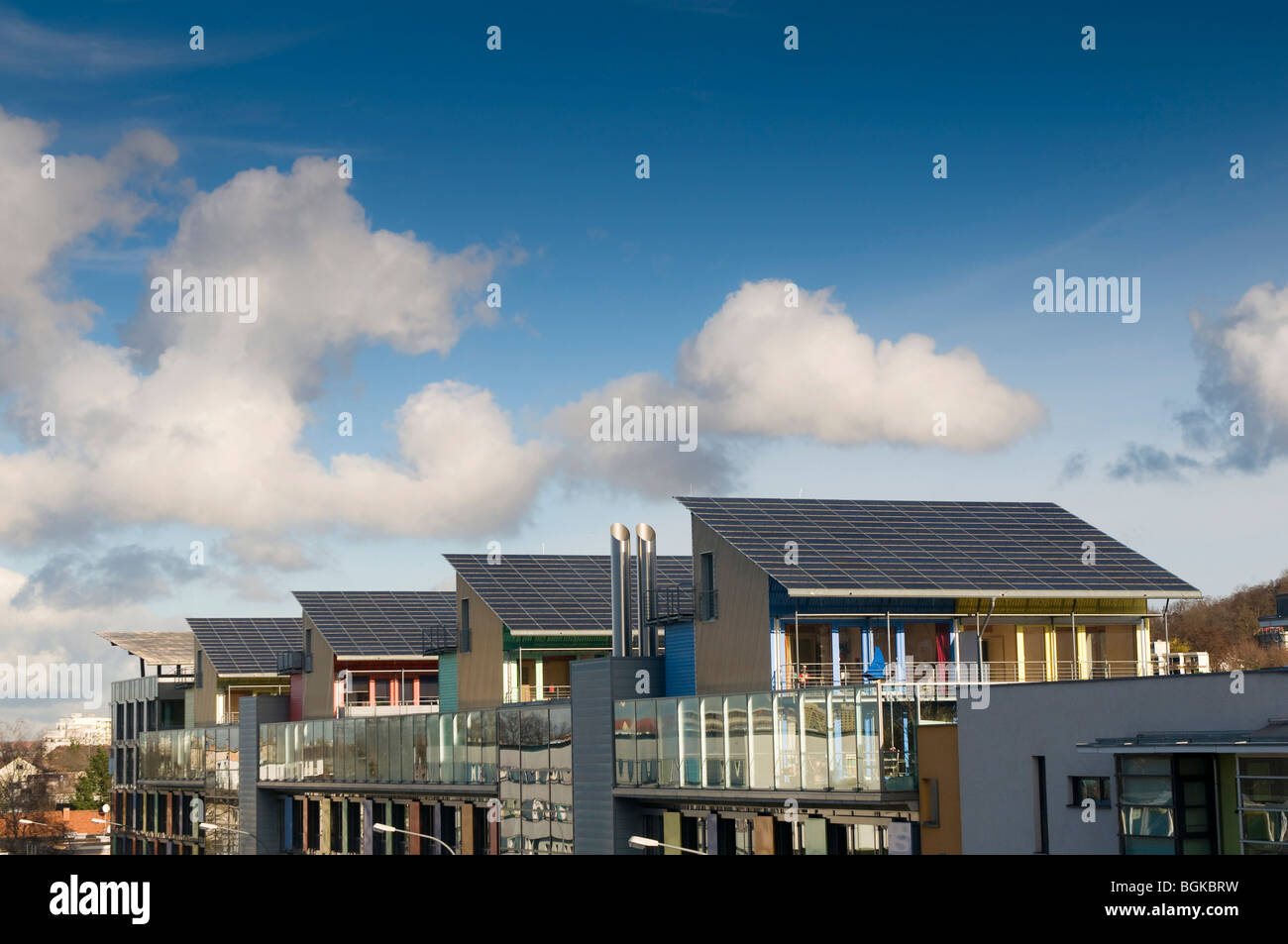 Roofs with solar systems, ecological Vauban district in Freiburg, Baden-Wuerttemberg, Germany, Europe - Stock Image