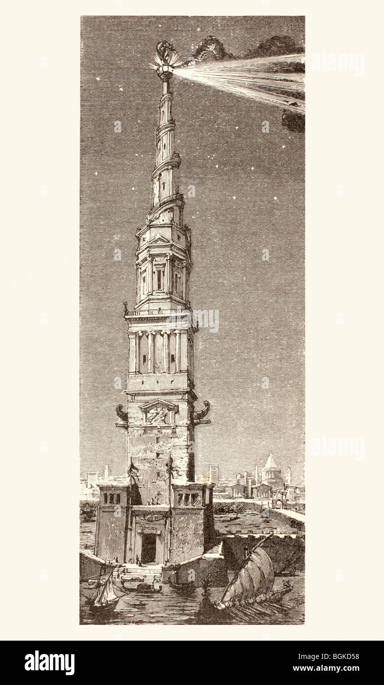 The Lighthouse on Pharos island, Alexandria, Egypt, after a fanciful 19th century illustration. One of Seven Wonders - Stock Image