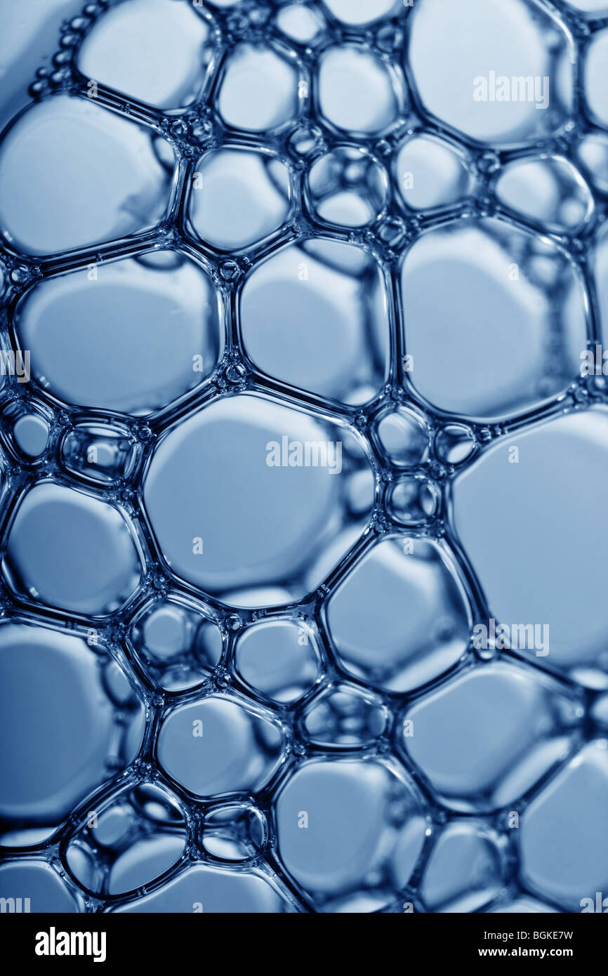 macro of a mass of water bubbles - Stock Image