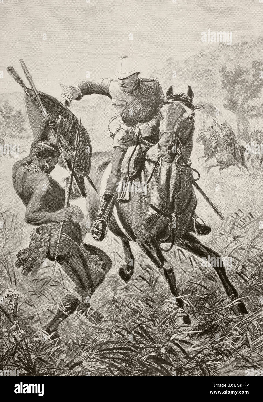 An English cavalryman attacks a Zulu warrior during the Anglo-Zulu war of 1879. - Stock Image