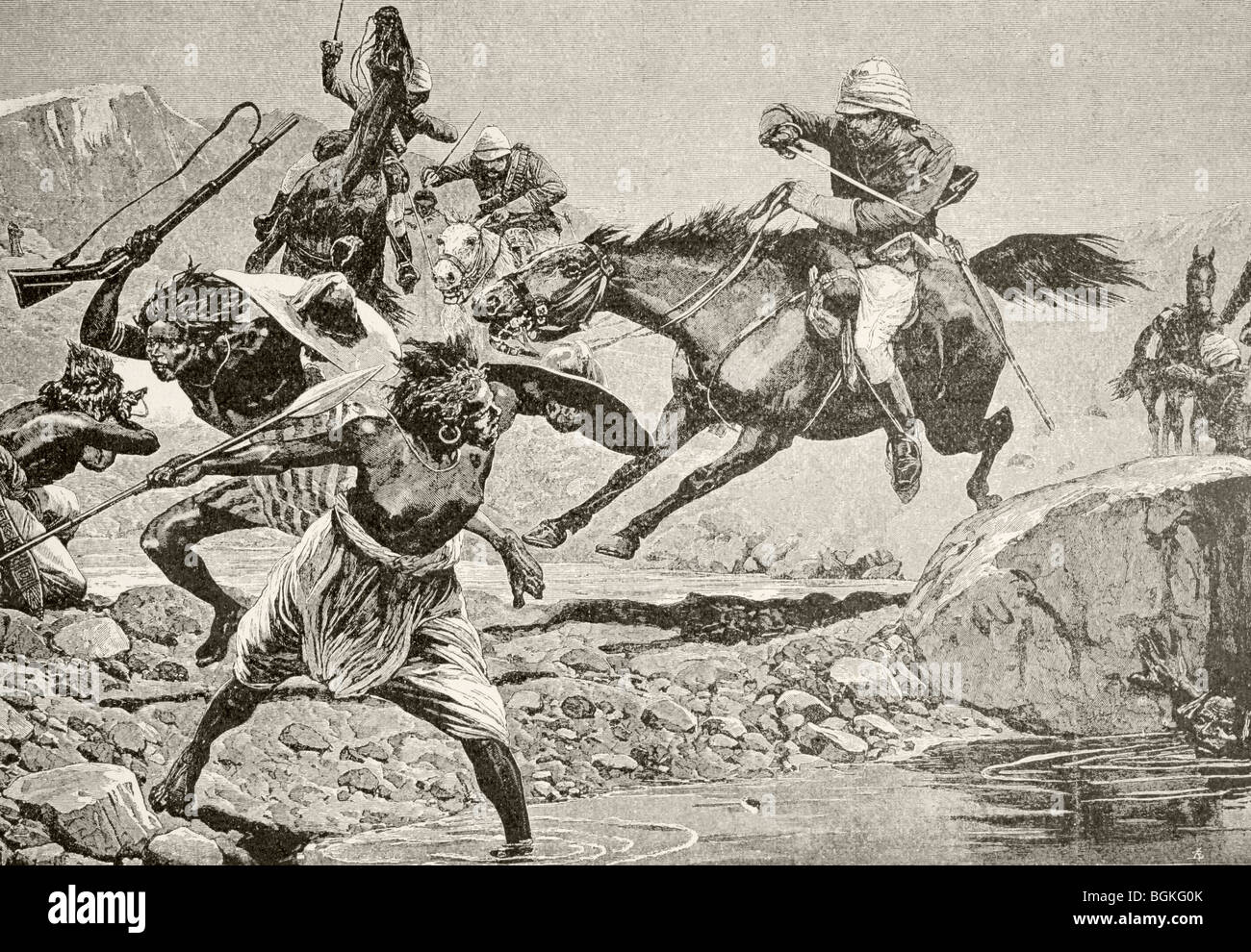 Skirmish at a waterhole in the Sudan between British cavalry and Sudanese tribesmen during the Mahdist War. - Stock Image