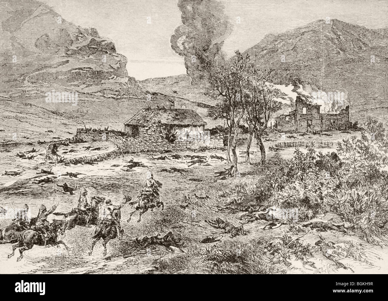 The British relief column arrives at Rorke's Drift, Kwa-Zulu-Natal province, South Africa, after the battle. - Stock Image