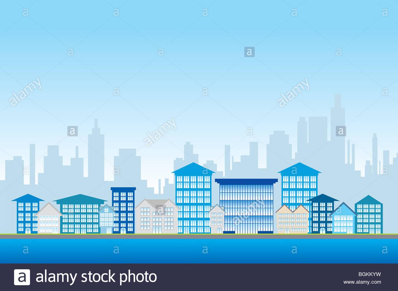 City life illustration - Stock Image