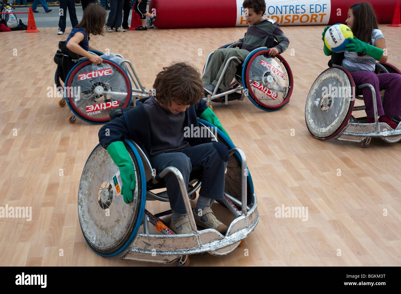 Paris, FRANCE - French Teens Acting out as Handicapped, Playing  School Sports Day - Stock Image