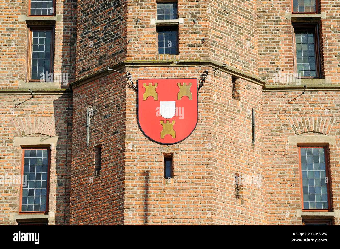 City coat of arms, heraldry, Gothic town hall, brick building, historic building, Kalkar, Lower Rhine, North Rhine - Stock Image
