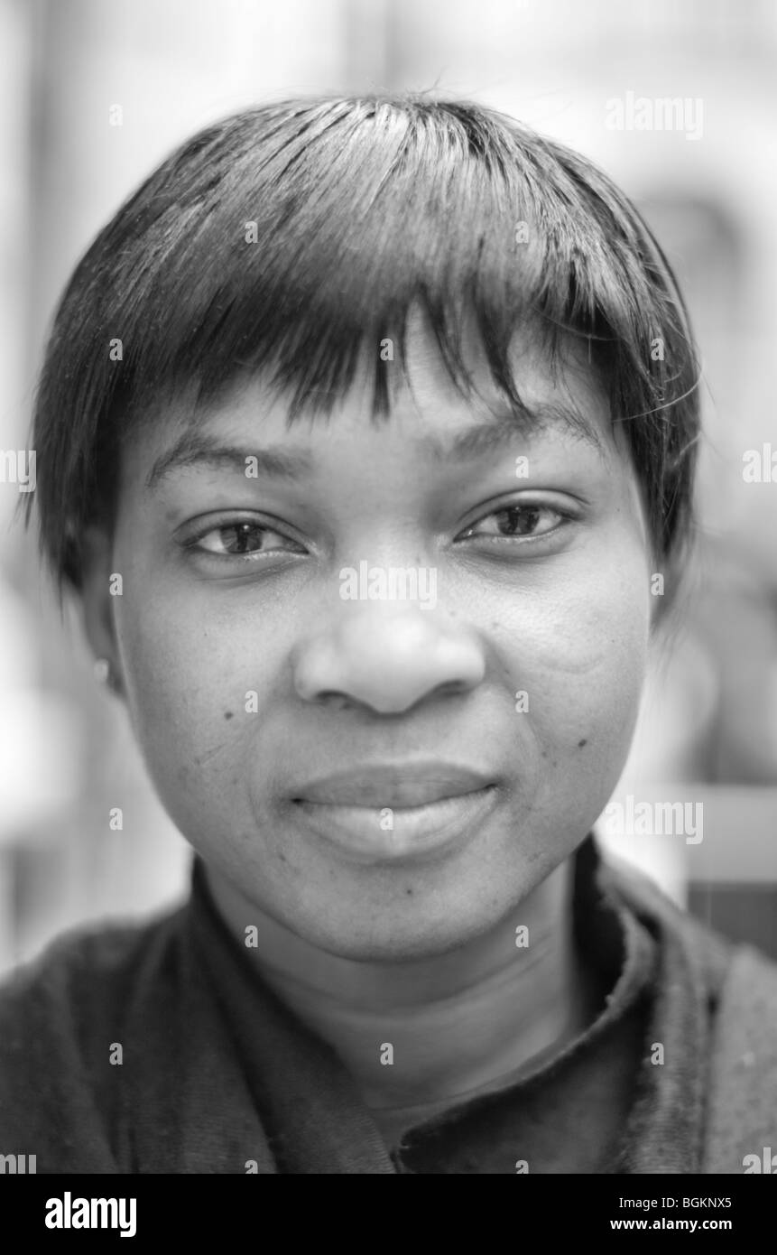 Faces of London; young Afro Caribbean woman in her twenties photographed in St James London uk - Stock Image