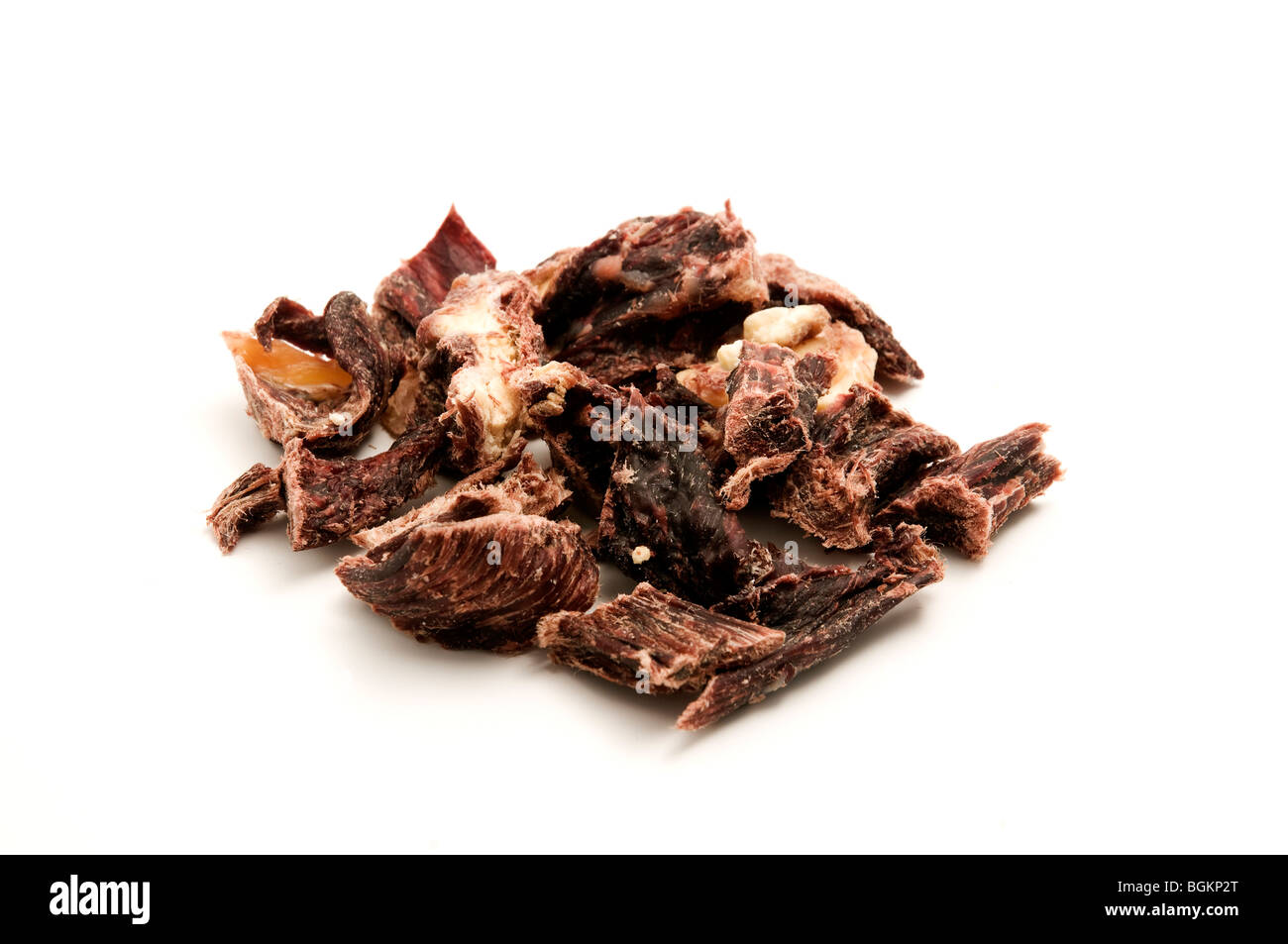 Dry Yak Meat on a white background - Stock Image