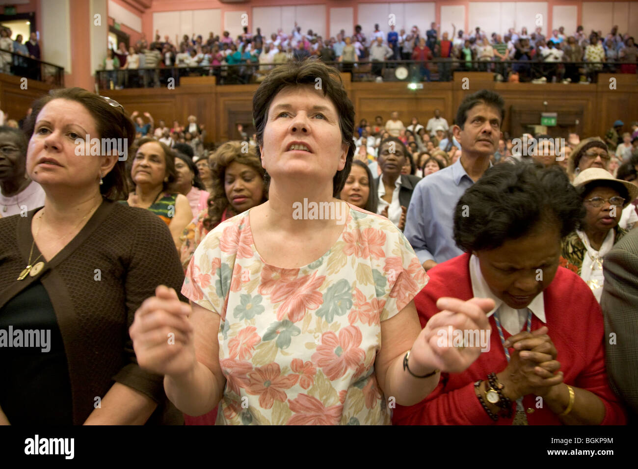 Prayer and Praise at rally organised by Cor Lumen Christi Community London uk Stock Photo