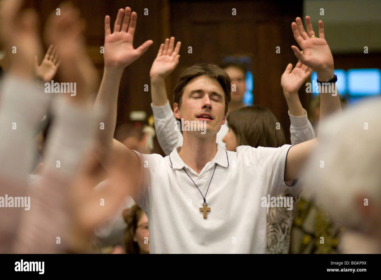 Prayer and Praise at rally organised by Cor Lumen Christi Community London uk - Stock Image