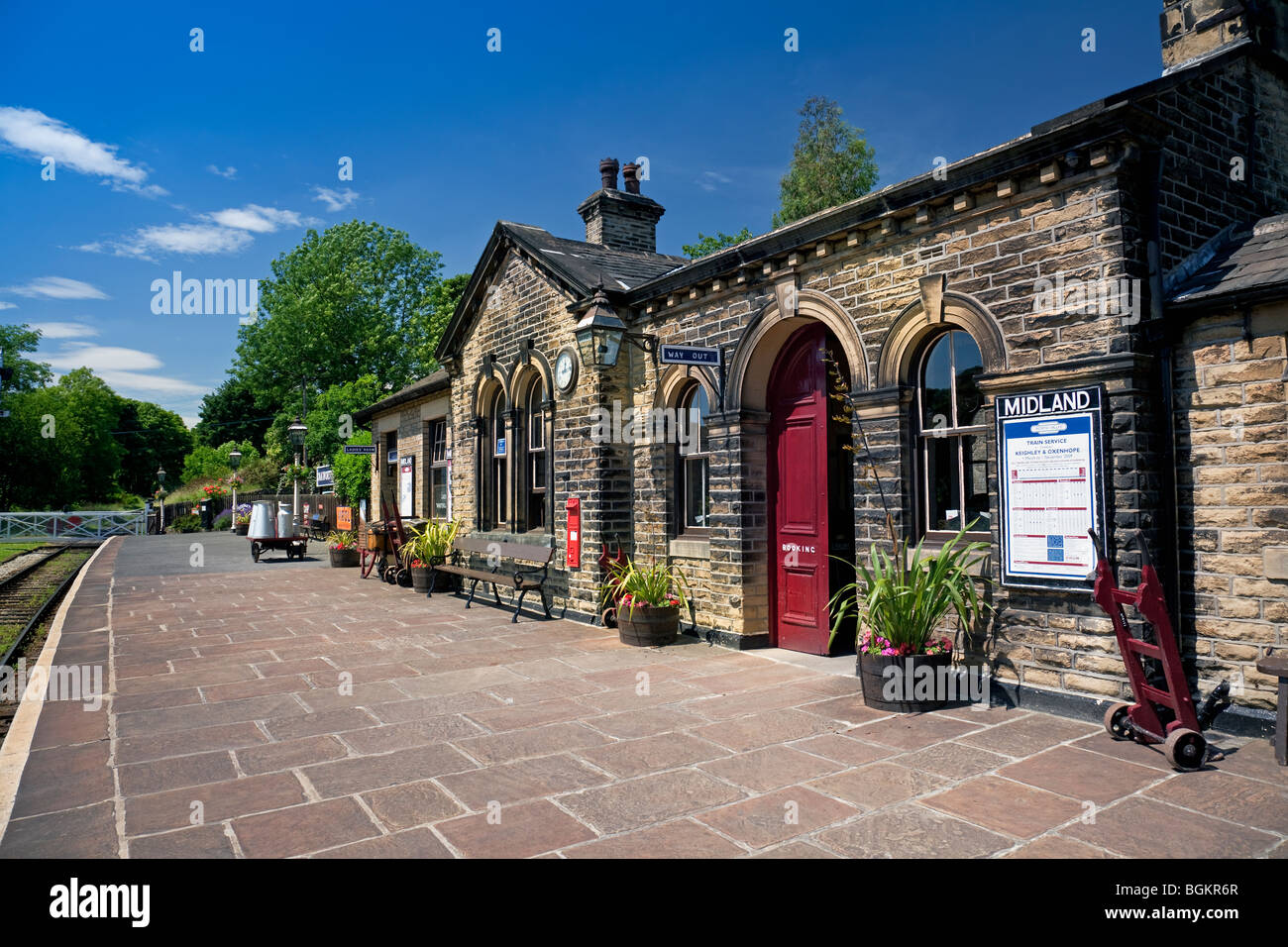 England West Yorkshire Oakworth Station on the Keighley & Worth Valley preserved steam railway - Stock Image