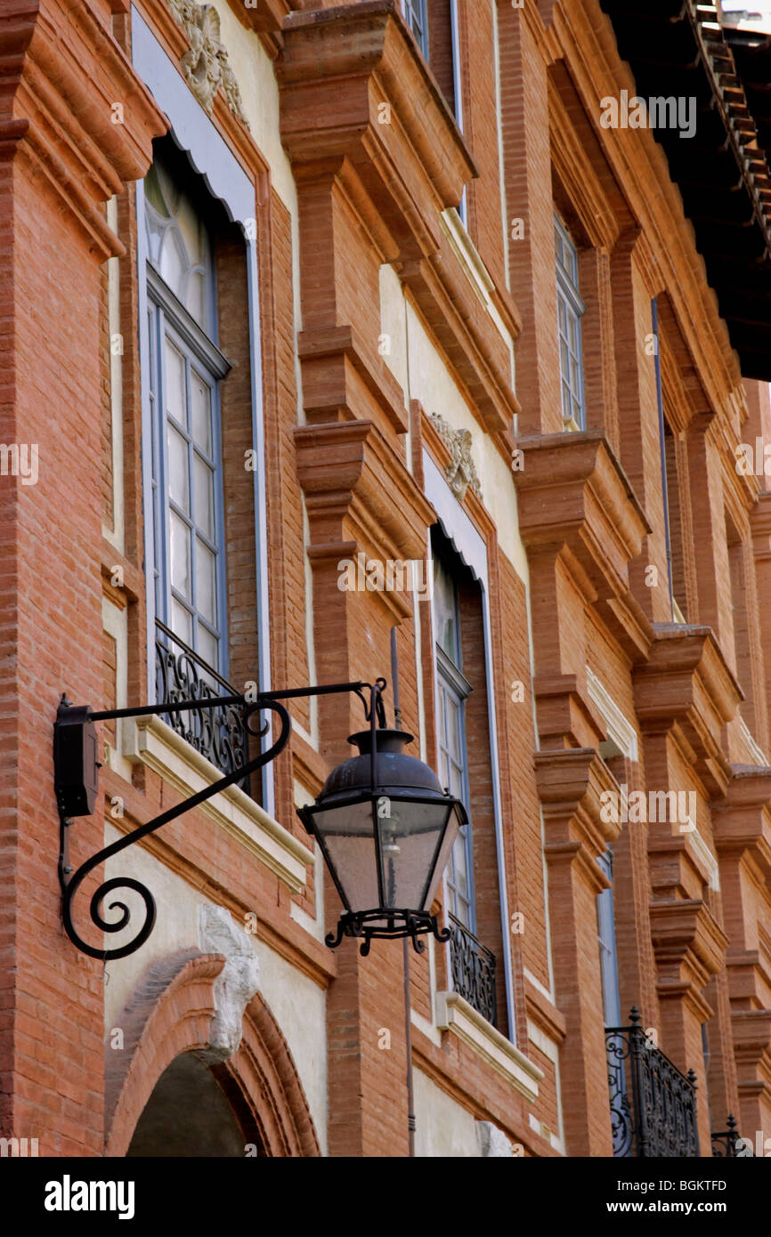 Red brick architectural detail Place National Montauban France - Stock Image
