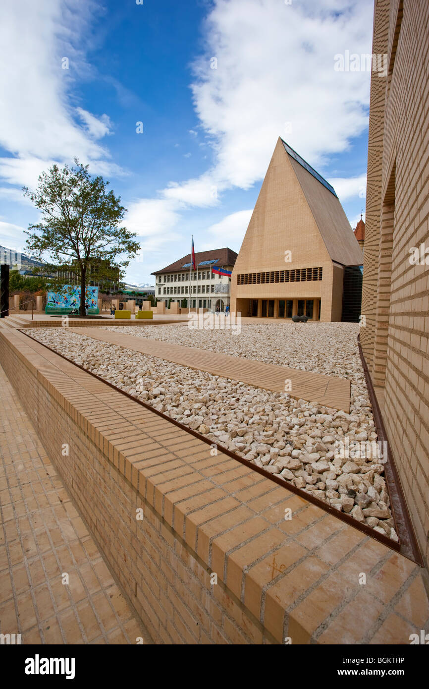 Angle view of the Landtag, the parliament of Liechtenstein Stock Photo