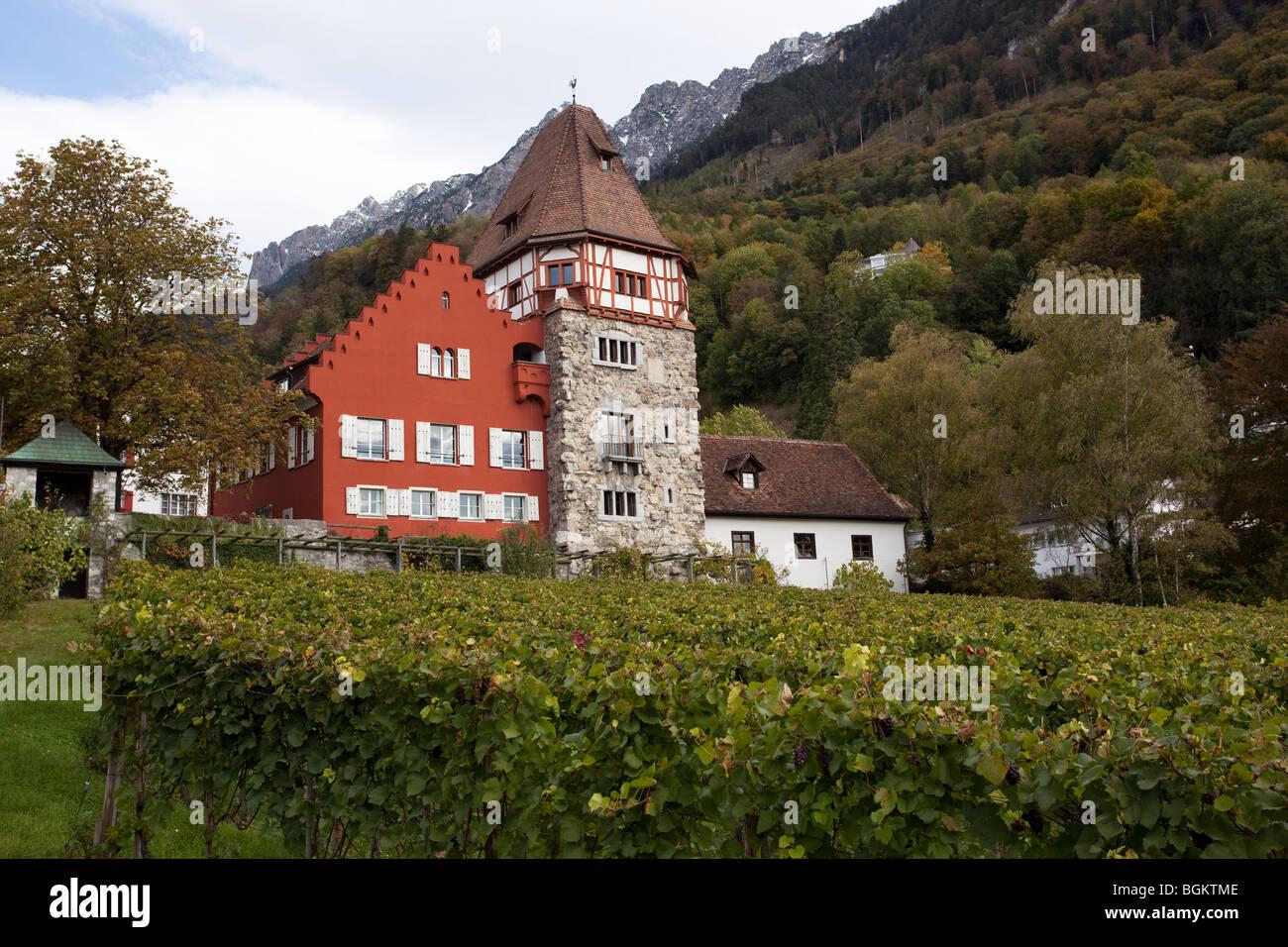 The red house, landmark of Vaduz within the vineyards, Liechtenstein Stock Photo