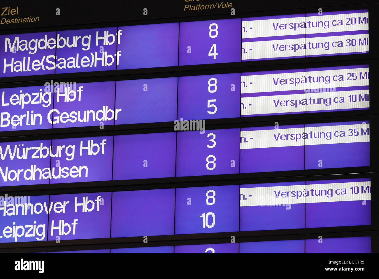 late trains displaying at a German railway station - Stock Image