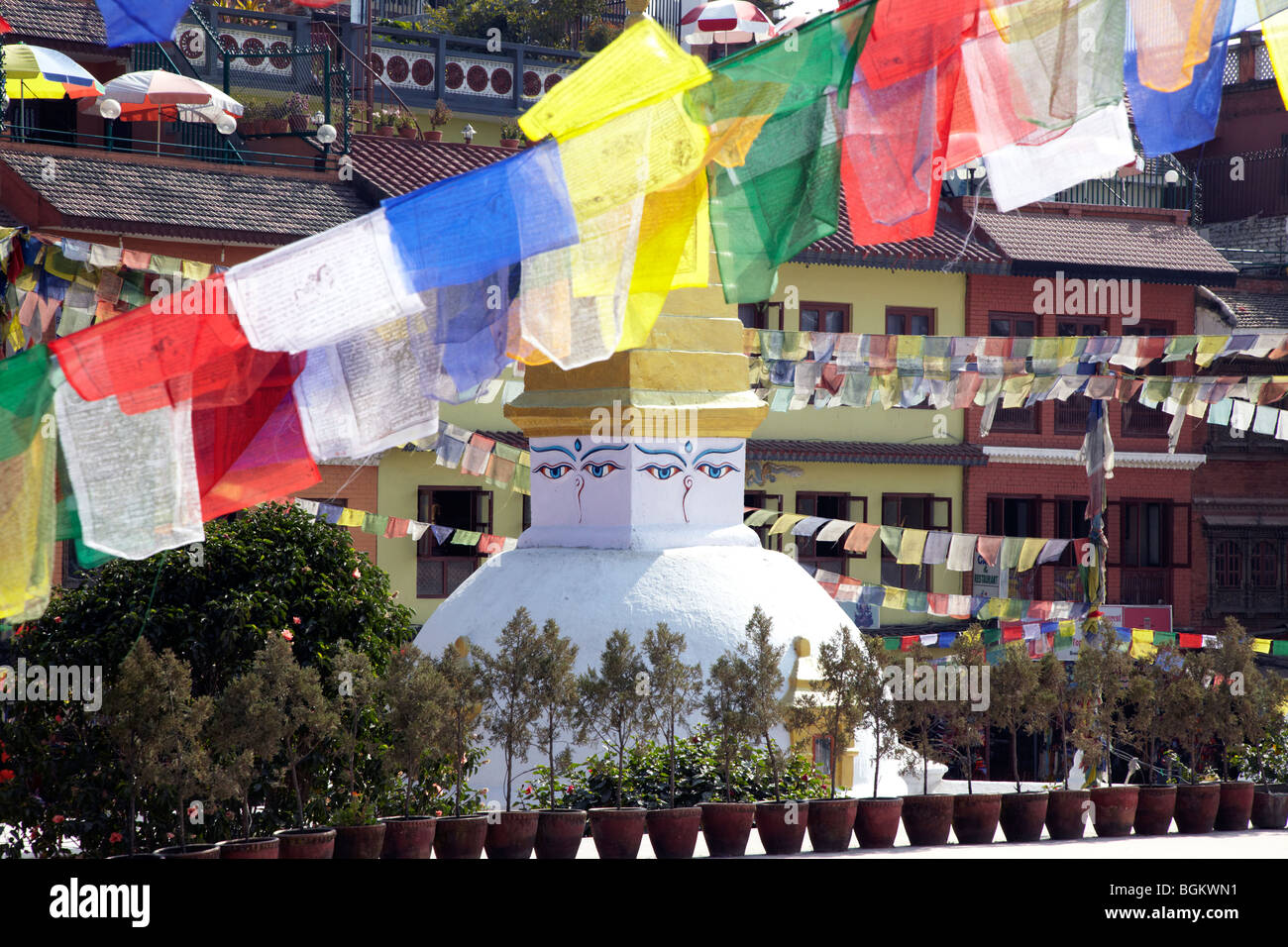 Prayer Flags Over Bodhnath Stupa Kathmandu Nepal Asia - Stock Image