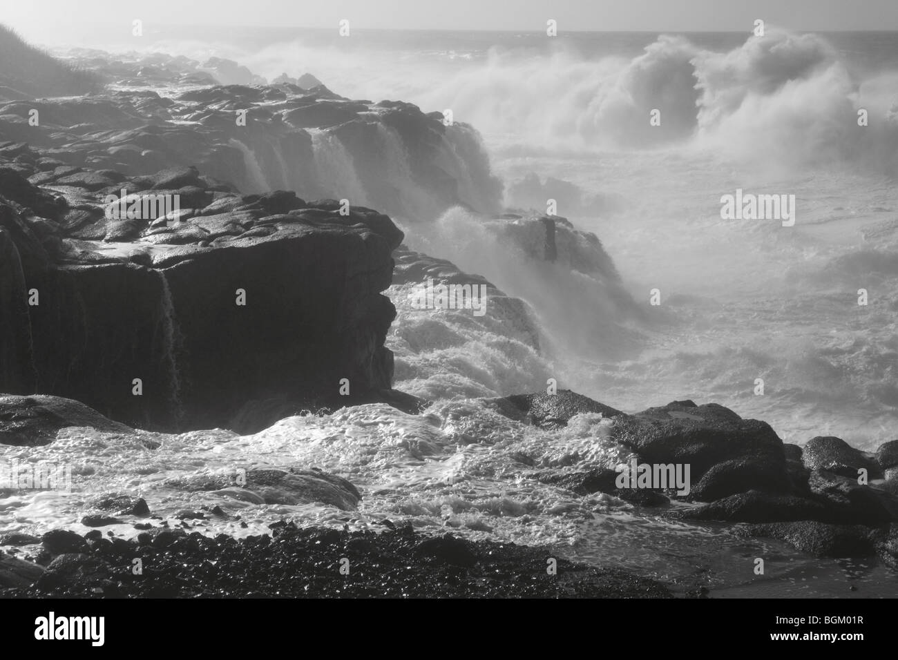 Waves crash on the rocky Oregon coastline - Stock Image