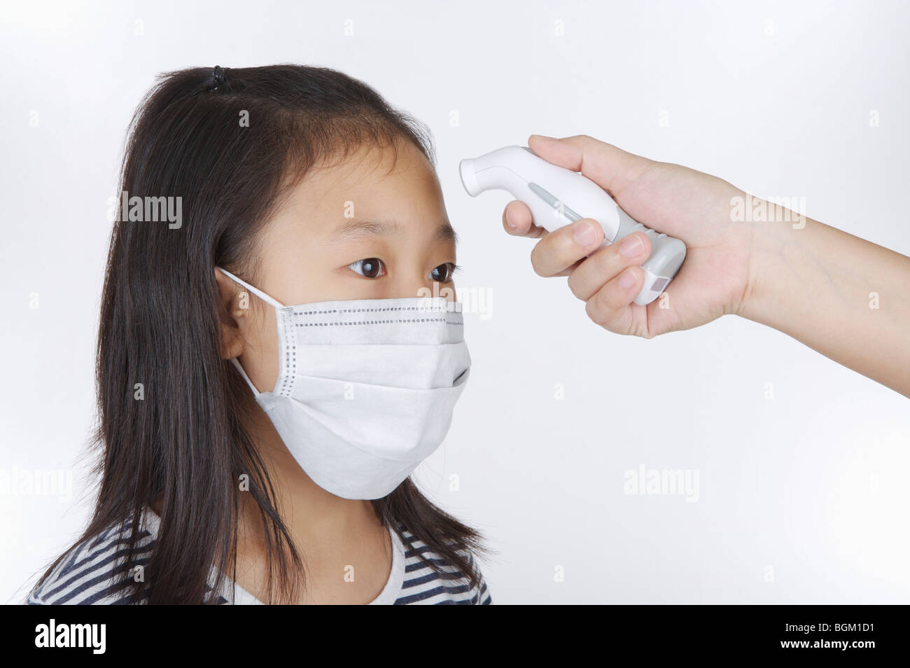 Fever Having On And Her Girl Wearing Surgical A Measuring Mask
