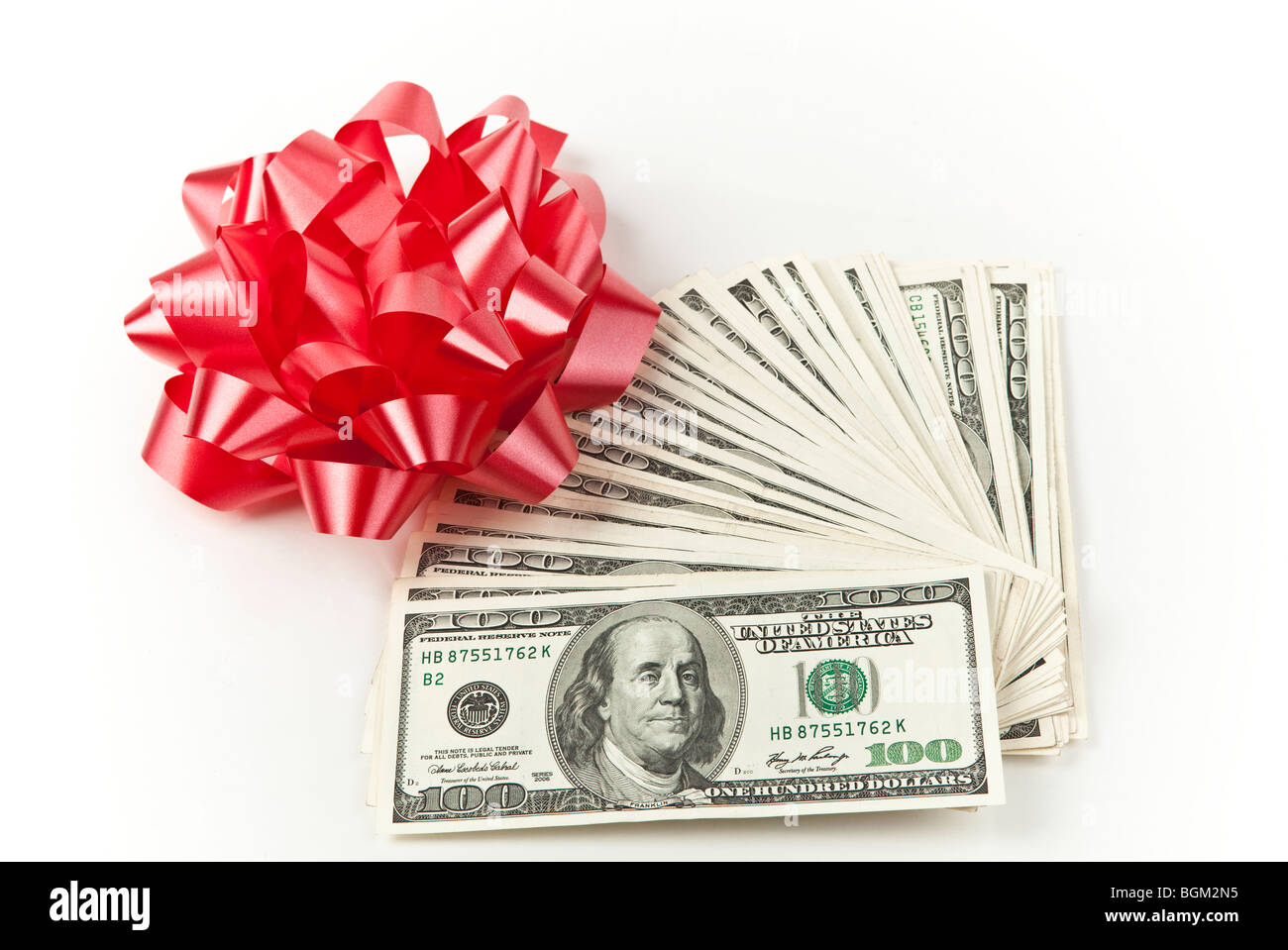 Holiday Cash money Red Bow - Stock Image