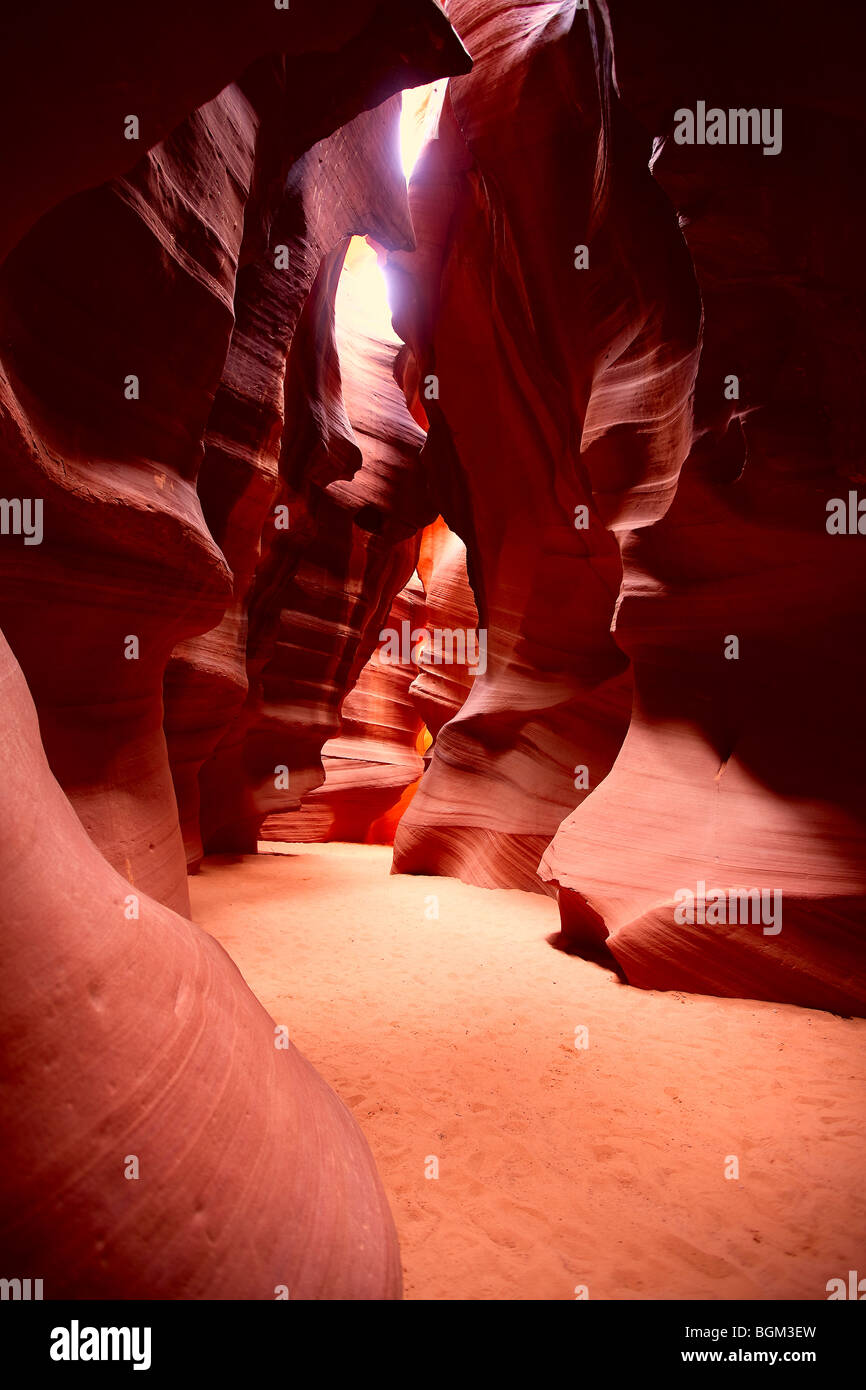 Mystical passages of Antelope Canyon where erosion formations and light creating inspirational atmosphere praised - Stock Image
