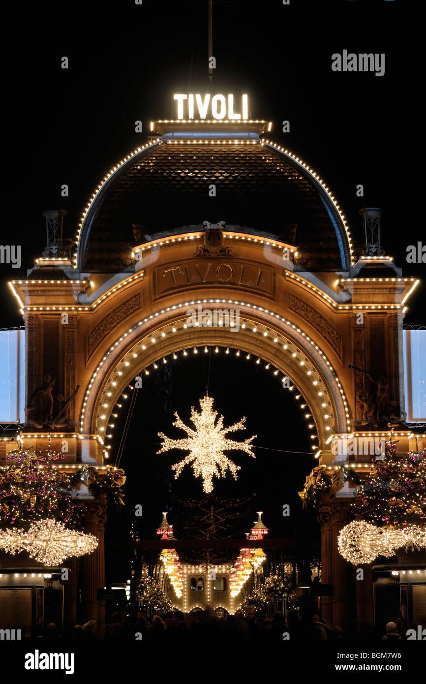 Christmas at Tivoli in Copenhagen. The amusement park glitters with beautiful Christmas decorations and illuminations. - Stock Image