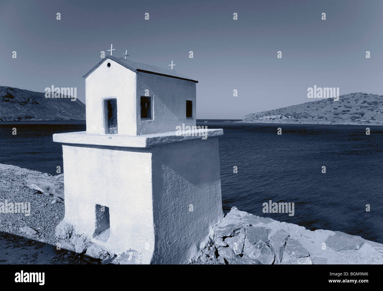 Memorial for deathly car accident on the island of Crete, Europe, blue filter Stock Photo