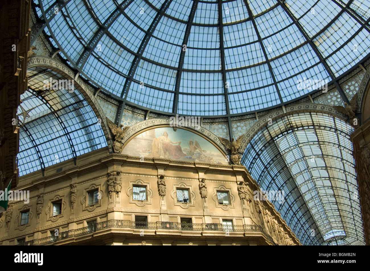 The glass roof of the Galleria in Piazza Duomo Milan - Stock Image
