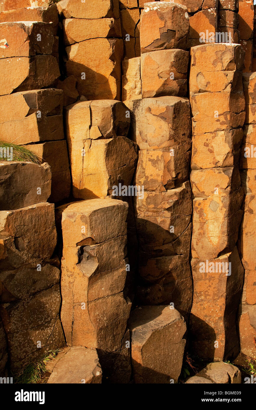 Basaltic columns at the Giant's Causeway Antrim Northern Ireland a natural phenomena and a world heritage site. - Stock Image