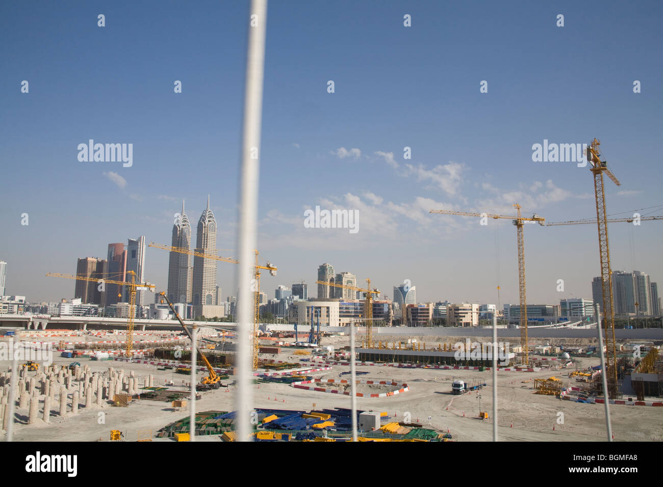 Dubai United Arab Emirates Construction work has been severely curtailed during the current economic crisis - Stock Image
