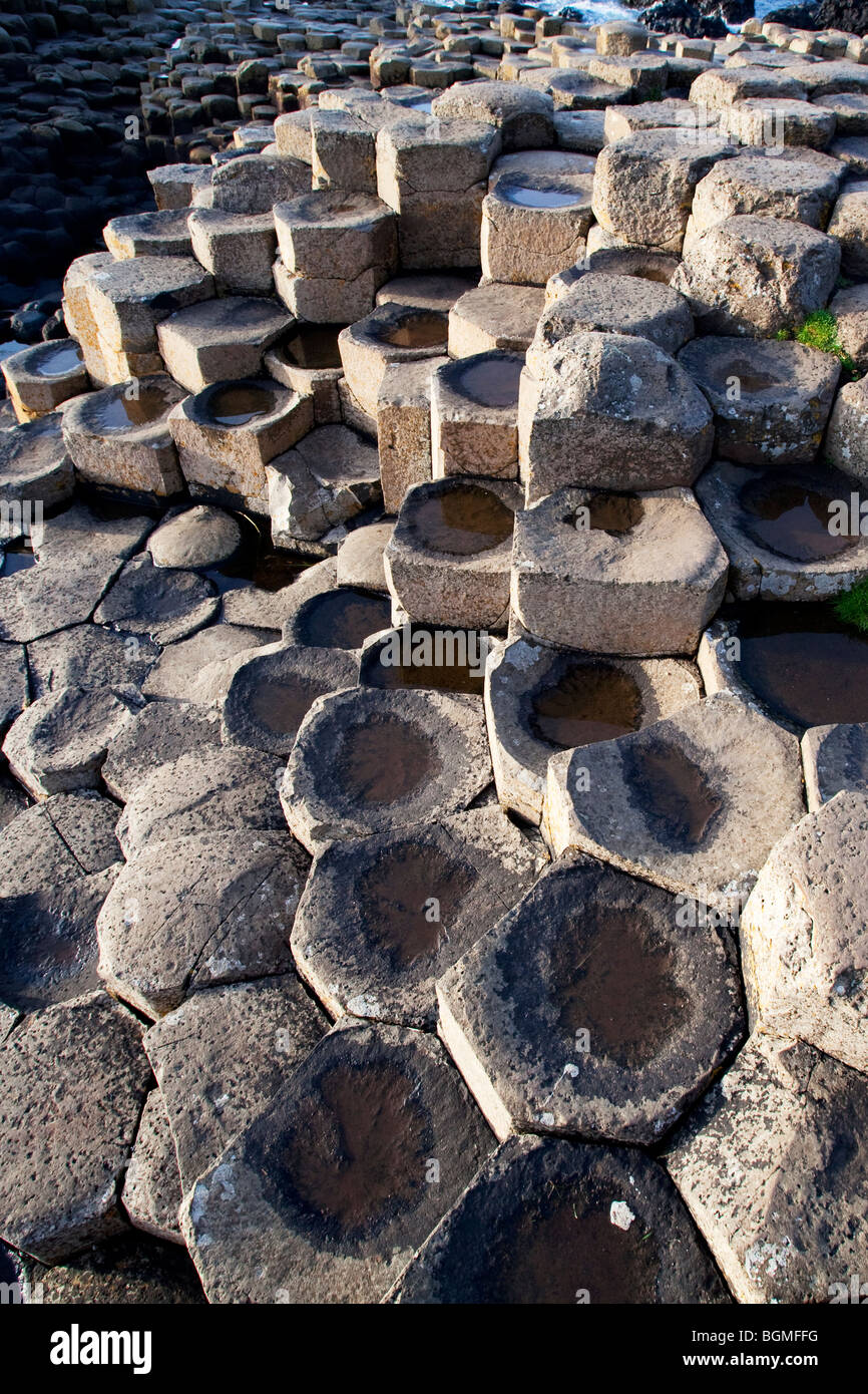 Steps of volcanic rock at the Giant's Causeway Antrim Northern Ireland a natural phenomena and a world heritage - Stock Image