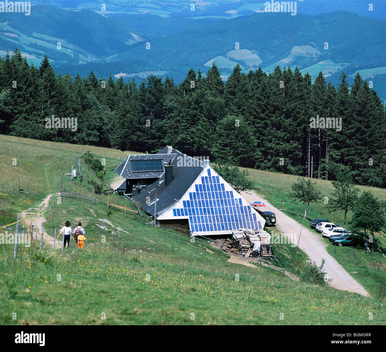 A photovoltaic electricity generating system on the end wall of Rappenecker Hof, in the Black Forest east of Freiburg, - Stock Image