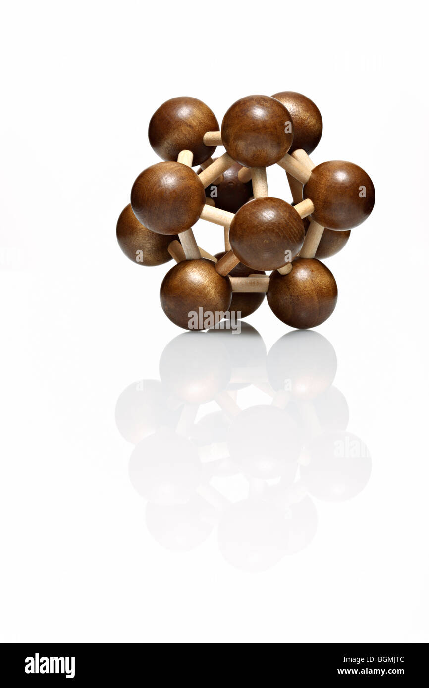 Molekuelmodell aus Holz - Stock Image