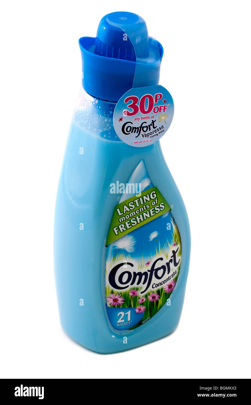Plastic bottle of Blue Comfort 'clothes conditioner' - Stock Image
